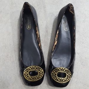 Coach Flats Leather Black Leopard Brown 8